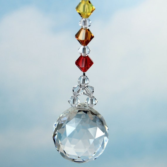 m/w 20mm Swarovski 8558 Crystal Ball and 7 Chakra Color Bicones, Car Charm Suncatcher for car or home, Pearl Place N More