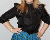 Hal Hardin Vintage High collar Black and Blue plaid dress