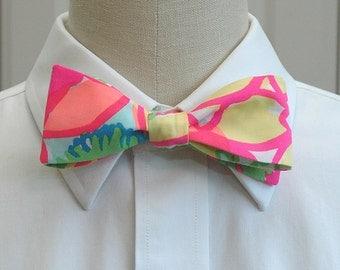 Men's Lilly Bow Tie in neon bright Ice Cream Social (self-tie)