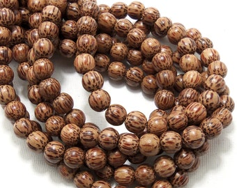 Palmwood Bead, 8mm, Round, Smooth, Natural Wood Beads, Small, 16 Inch Strand - ID 1416