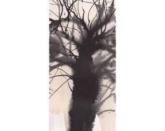 Grid Series No.1 bare trees 3 of 9, original watercolor