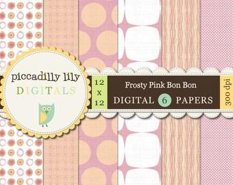 Instant Download - Frosty Pink Bon-Bon -- 12x12 Digital Printable Scrapbook Paper Pack 6-pack  --Buy 3 Digital Paper Packs Get 1 FREE