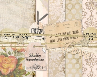 Shabby Farmhouse digital PAPER and ELEMENTS KIT pale pinks neutrals chippy