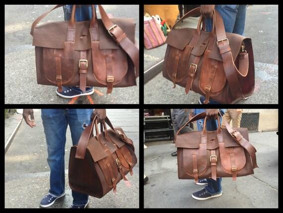 Washington duffle, handmade leather bag, weekender travel bag, handmade leather overnight bags, weekenders and duffles by Aixa Sobin, maker