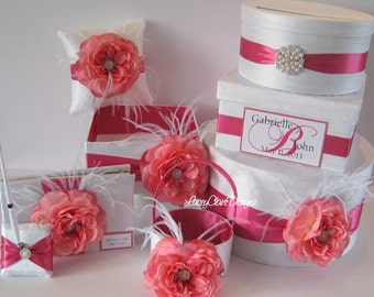 Wedding Card Box Set - includes Card Box, Guest Book, Program Box, Flower Girl Basket, and Ring Pillow Custom Made
