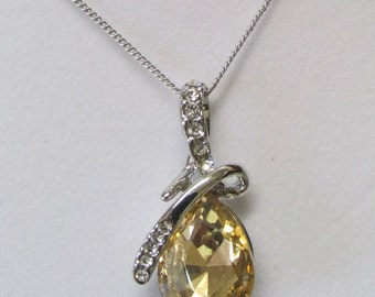 Fashion Jewelry- Lovely Smooth Faceted Oval Light Topaz, Citrine Crystal With White Clear Crystal Rhodium Plated Necklace