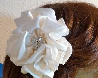 Dupioni Silk Rose Hair Fascinator CUSTOMIZE Wedding Flower Girl Bridesmaid