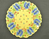 VINTAGE HANKIE, Blue Poppie Border on Yellow, NOS, Green Red Accents, Corded Scalloped Edge, Excellent Condition
