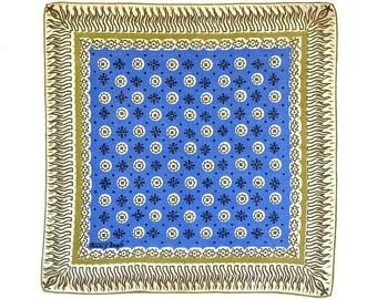 RETRO HANKIE, Tammis Keefe Designer Mid-Century, Signed, Royal Blue Geometric, Deep Borders, Linen, Hand Rolled Hem, Excellent Condition