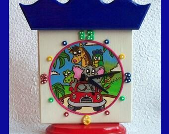 Handmade Childrens Tabletop Clock with woodburn design