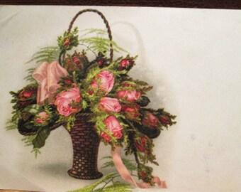 Vintage Postcard Victorian Basket - Pink Roses - Ferns - Pink Ribbon