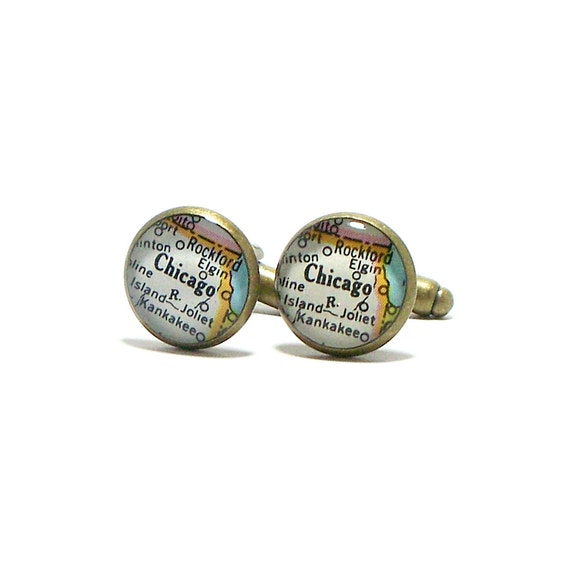 Chicago, Illinois 1954 Vintage Map Cufflinks