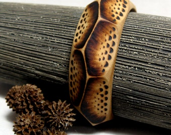 BioBangle - Fragment Bracelet, Wooden Bangle, Wooden Bracelet, Pyrography, Woodburned Bangle, Organic, Rustic