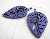 Violet Leaf Earrings