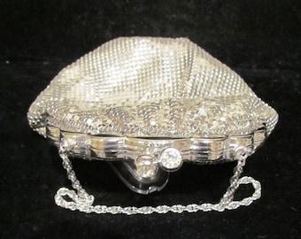 Vintage Purse Silver Mesh Purse Rhinestone Purse 1940's Purse Duramesh Purse Wedding Purse Formal Purse Evening Bag UNUSED