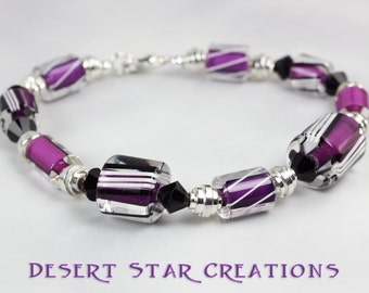 Fuchsia Purple Stripped Cane Glass Bracelet
