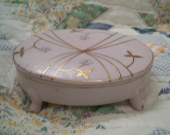 Vintage porcelain bisque trinket jewelry box AmArt Creation Japan moriage hand painted