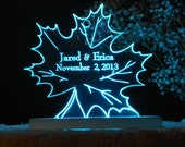 Leaf Cake Topper  - Engraved & Personalized - Acrylic- Lighted option