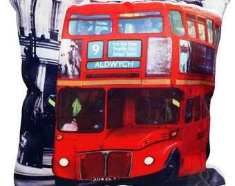 "Choices of London New York Icons Red 17"" Pillow Cover Cushion Cover Telephone Box Taxi Red Bus"