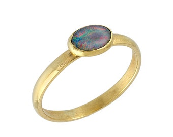 Vintage Polished Natural Opal Engagement Ring 14k Yellow Gold