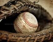 Vintage Baseball in Catchers Mit Photo Print,Decorating Ideas, Wall Decor, Wall Art,  Kids Room, Nursery Ideas, Gift Ideas, MVP
