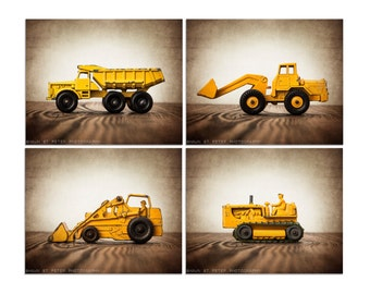 Vintage Construction Vehicles Set of  Four  Canvases Ready to Hang, Diggers, Wall Art,  Kids Room, Nursery Ideas