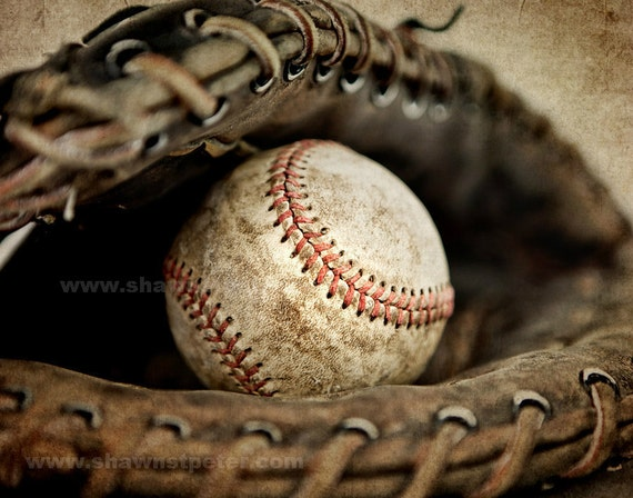 Vintage Baseball Wall Decor : Vintage baseball in catchers mit photo printdecorating ideas