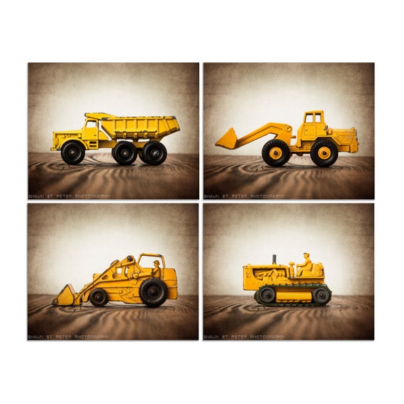 Vintage construction vehicles set of four by shawnstpeter for Boys construction bedroom ideas