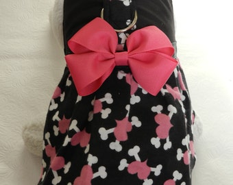 Bad to Bone Rocker Gothic Hearts & Crossbone Harness Dress with Bow for your Cat, Dog or Ferret. Custom made dress for your pet.