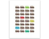 Car Parade - 8X10 Art Print/Wall Art - Baby Nursery Decor and Children's Room Decor