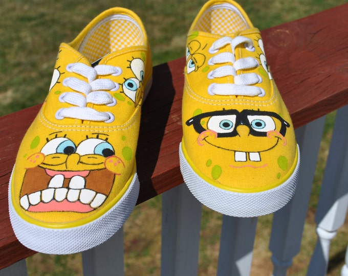 Funny Sponge Bob Hand Painted Sneakers size 8 -sold
