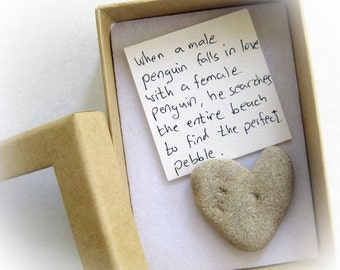 Unique Valentine's Card For Her,  a heart shaped rock in a box, valentine rock, penguin rock, romantic love card, personalized love card