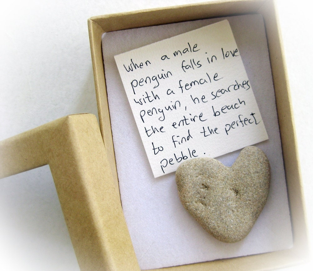 Unique valentine 39 s card for her a heart shaped rock in a for Small valentines gifts for him
