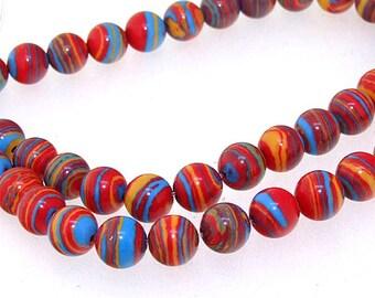 """8mm Round Red Malachite jasper  Red Blue Yellow  Malachite Jasper Gemstone Beads Full Strand 15"""""""