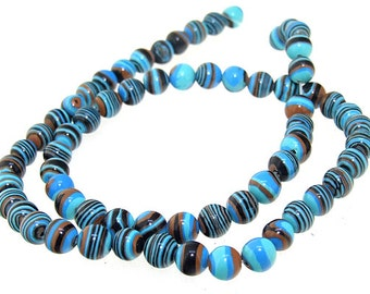 6mm Round Blue Malachite jasper  Blue Black  Malachite Jasper Gemstone Beads Full Strand 15""