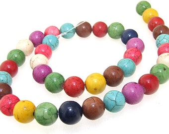 Charm 10MM Round Howlite Mixcolor Turquoise Gemstone Beads One Strand