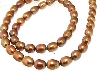 "Rice Freshwater pearl Cultured Pearl  Coffee Pearl 6mm-7mm Gemstone Beads Full Strand 14.5"""
