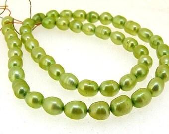 "Rice Freshwater pearl Cultured Pearl Green Pearl 5mm-6mm Gemstone Beads Full Strand 14.5"""