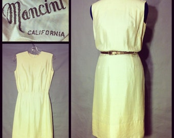 Vintage Sheath Dress by Mancini California Silky Cream White XS S 60's MOD