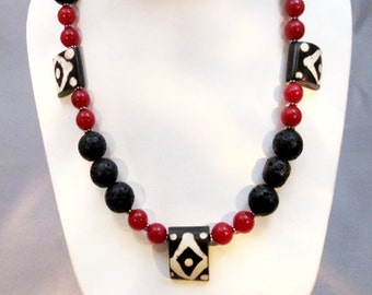 Lava Stone, Red Agate & Mud Bead Necklace Handmade