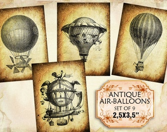 Vintage old air-balloons and aerostats set of 9  2.5 x 3.5 inch images Paper Craft Tags Labels (309) Buy 3 - get 1 free