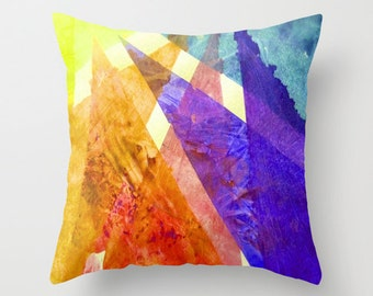 Summer Brights  Watercolor Painting Design Pillow Cover.Unique Bright colors, Great graduation gift, Mother's Day gifts