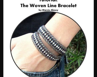 Beadweaving Bracelet Tutorial - The Woven Line Bracelet Instant Download