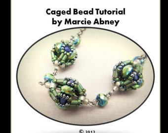 Beadweaving Tutorial - The Caged Beadwoven Beaded Bead Instant Download