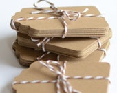 Kraft Paper Tags, 100 Die Cut Tag, Gift Tags, Labels, Brown Die Cuts,