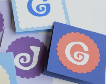 Personalized Initial Cards, Set of 20 Mini Cards, Custom Color and Letter Card, Alphabet Cards