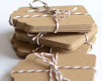 Kraft Paper Tags, 100 Die Cut Tag, Gift Tags, Labels, Brown Die Cuts,