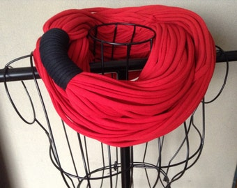 Infinity Circle Scarf - Super Chunky - Red Color with Black band, Back To School