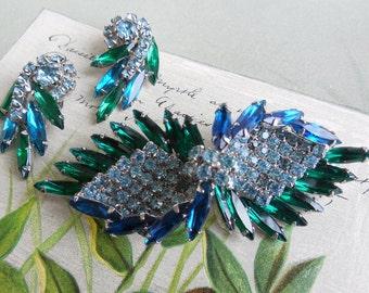 JULIANA Blue & Green Navette Rhinestone Brooch w/ Earrings Set     JS8