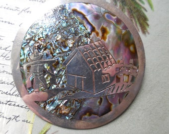 Sterling & Abalone Scenic Brooch Taxco, Mexico